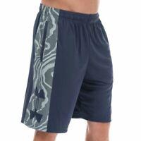 Men's Under Armour Tech Bar Logo Fuller Cut Moisture Wicking Shorts in Blue
