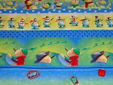 2 yards Christmas/ Holiday Blue Snowman Stripe 100% Cotton Fabric