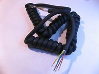 Microphone MIC Cable Assembly Coiled 5 Wire w. Braid Shield 12-Inch - USED Qty 1