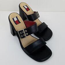 Vintage Tommy Hilfiger 9.5 M Black Leather Sandals Chunky Heels Slip On Buckle