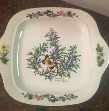 "Royal Worcester Herbs Rosemary Round Square Cake Plate 11"" x 9 1/2"" MUST SEE"