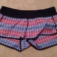 Lululemon Size 2 Rad Passion Plaid Speed Shorts NWOT Red & Blue