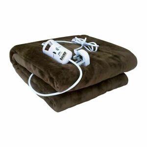 Luxury Fleece Electric Heated Throw Over Under Blanket Soft Plush Warmer Cold Uk