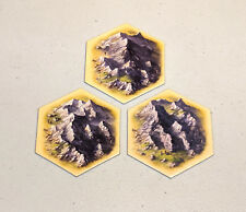 Settlers of Catan hex tiles - 5th edition - Ore/Mountain - set of 3