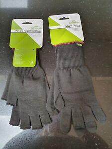 NEW Kathmandu Polypro Men's Lightweight Gloves & Polypro Fingerless Gloves Sz L