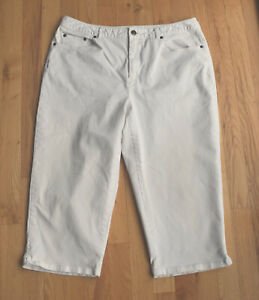 Talbots STRETCH white crop pants (Petites 14) flat front
