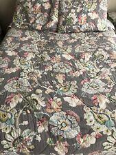 World Market Quilt & 2 Shams Corinne Quilt 100% Cotton 88X88 Grey Floral
