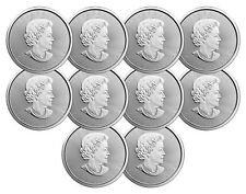 Lot of 10 - 2018 $5 1oz Canadian Silver Maple Leaf Coins .9999 Fine BU
