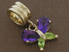 Bd102/82 Solid 9ct Gold Natural Amethyst & Peridot Butterfly Dangle Bead Charm
