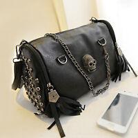 Womens Pu Leather Punk Rock Handbag Satchel Skull Rivet Tassel Shoulder Bag