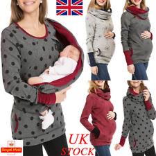 UK Womens Breastfeeding Tops Nursing Sweatshirt Blouse T Shirt Maternity Clothes