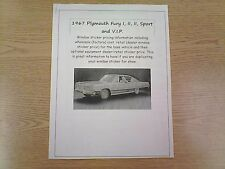 1967 Plymouth Fury factory cost/dealer sticker prices for car & options $