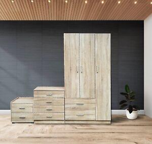 PALAKLOT 3 Piece Bedroom Furniture Set (Wardrobe + Chest + Bedside) Oak Finish
