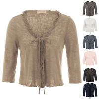 Women Blouse 3/4 Sleeve Ruffled Knitting Shrug Knitwear Bolero Office Top Shirt