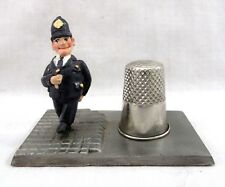 Really Unusual Rare Vintage London Bobby Policeman Figural Metal Thimble Holder