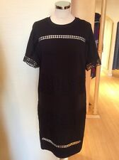 Oui Dress Size 16 BNWT Black Open Work Trim RRP £159 Now £39