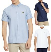 Lyle & Scott Men Cotton Oxford Shirt Regular Fit Short Sleeve Button Down Collar