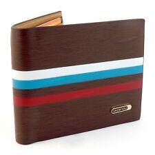 Para hombre elegantes marrón Cuero Billetera a Rayas Suave Calidad ID titular de la tarjeta de crédito Reino Unido