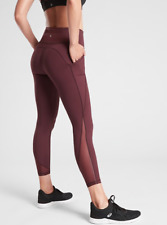 Athleta L Lightning Stash Pocket 7/8 Tight Leggings in SuperSonic LARGE Burgundy