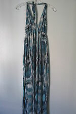 Cherish Blue Print  Halter 100% Rayon Full Length Summer Dress SIZE:M