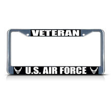 VETERAN U.S. AIR FORCE Metal License Plate Frame Tag Border Two Holes