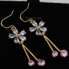 Crazy Nice Lavender Flower Gems Jewelry Yellow Golden Lady Dangle Earrings H1129