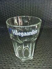 """Hoegaarden Beer Pub Glass 0.25L Belgian 5.25"""" Hexagonal Blue And Gold"""