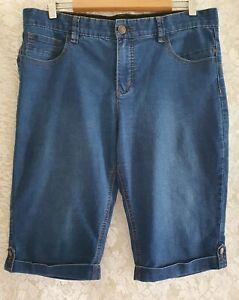 Ladies size 14 Blue ELASTIC WAIST Stretch Denim shorts  - Rockmans
