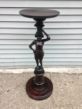 Antique Carved Wood Figural Pedestal Lady Table Circa 1895