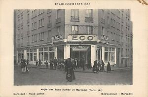 CPA 75 PARIS XVIIIe ETABLISSEMENT ECO ANGLE DES RUES RAMEY ET MARCADET