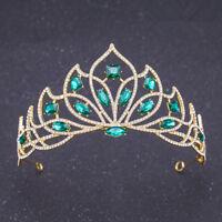 Crystal Princess Tiara Headband Bridal Floral Crown Wedding Party Prom Headdress