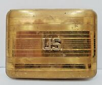 US ARMY Vintage Elgin Gold Toned Cigarette Holder-Striped Pattern, USA MADE