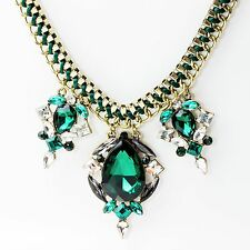 CRISTALLO verde strass collana girocollo dichiarazione Tono oro catena UK Shop