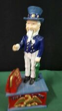 Vintage  Cast Iron Uncle Sam Mechanical Bank USA Reproduction Working order