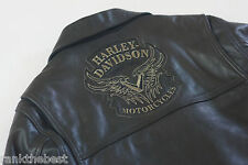 Harley Davidson Mens Classic Style HD Black V Twin Tribal Leather Jacket M Rare