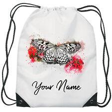 Personalised Butterfly Gym Bag PE Dance Sports School Swim Bag Waterproof