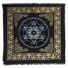 "NEW Hexagram of Metatron Altar Cloth 18"" Gold and Black Metallic Fringed Cotton"
