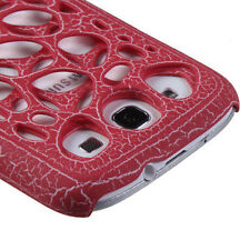 For Samsung Galaxy S III 3 HARD Case Snap On Phone Cover Red Ridged Synapse