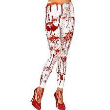 Ladies Adults Bloddy Horror Leggings Bloody Zombie Costume Fancy Dress Accessory
