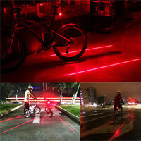 5 LED 2Laser Beam Taillight MTB Cycling Bike Bicycle Rear Lights Tail Back Lamp