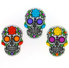 Dress It Up Buttons - 3 Large Sugar Skulls / Vibrant Day of the Dead Buttons