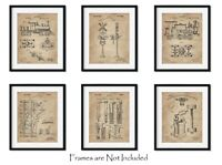 "Set 6 Railroad Train Patent Wall Art Prints -8""x10""- Locomotive Railway Gifts"