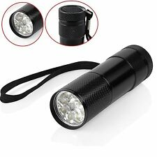 HQ 9 LED ALUMINIUM UV ULTRA VIOLET BACKLIGHT AAA FLASHLIGHT TORCH LIGHT LAMP UK