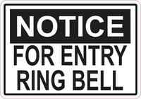 5 x 3.5 Notice For Entry Ring Bell Sticker Vinyl Security Privacy Business Sign