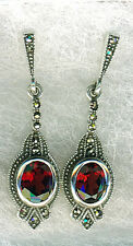 """925 Sterling Silver Garnet & Marcasite Drop/Dangle Earrings  Length 40mm 1.1/2"""""""
