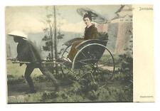 unused pre 1910 postcard rickshaw handcolored japanese woman being pulled