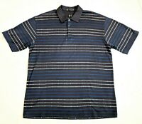 Tiger Woods Collection Golf Polo Shirt Mens Size XL Short Sleeve Gray Stripes