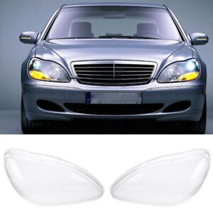For Benz W220 S600 S500 S320 S350 S280 98-05 Headlights Lens Left+Right Cover