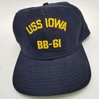 USS IOWA BB-61 Hat Cap Era Navy Blue Snapback Adult Used Made in Usa Vtg B4