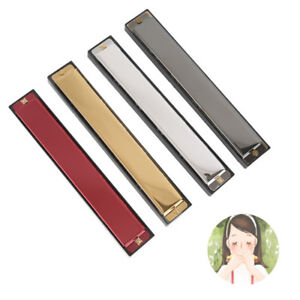 Tremolo Harmonica Metal 24 Holes With Case Mouth Organ Key of C For Beginner JB